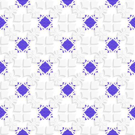Seamless abstract background of white 3d shapes with realistic shadow and cut out of paper effect. White geometrical ornament with textured blue details.