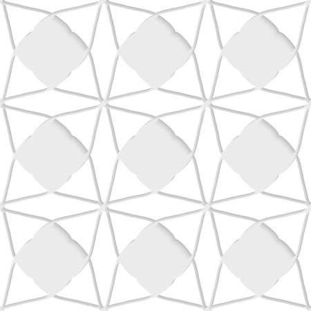 perforated: Seamless abstract background of white 3d shapes with realistic shadow and cut out of paper effect. White geometrical ornament with triangles.