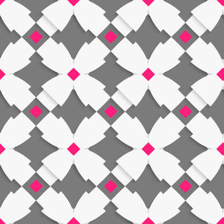 Seamless abstract background of white 3d shapes with realistic shadow and cut out of paper effect. White geometrical ornament with white crosses and pink squares on gray. Ilustração