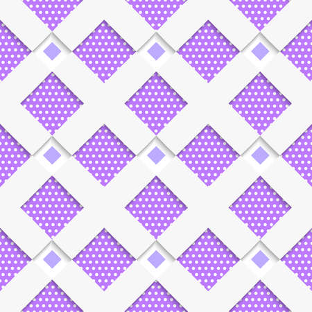 Seamless abstract background of white 3d shapes with realistic shadow and cut out of paper effect. White geometrical ornament with white net and dots purple texture. Ilustração