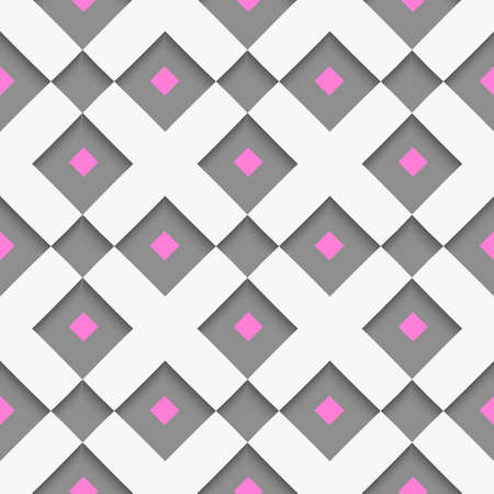 Seamless abstract background of white 3d shapes with realistic shadow and cut out of paper effect. White geometrical ornament with white net and pink squares on gray. Ilustração