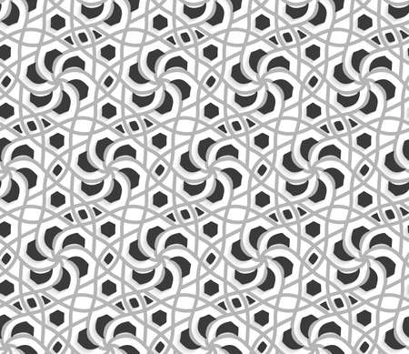 Seamless abstract background of white 3d shapes with realistic shadow and cut out of paper effect. White layered ornament with light and dark gray. Ilustração