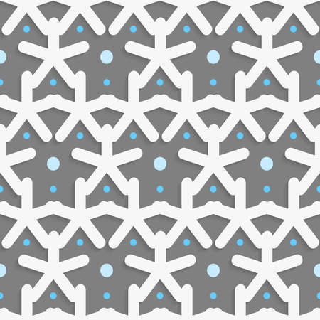Seamless abstract background of white 3d shapes with realistic shadow and cut out of paper effect. White shapes with blue dots on dark gray pattern.