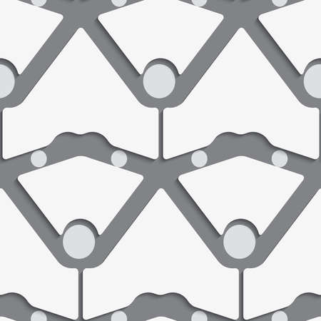 perforated: Seamless abstract background of white 3d shapes with realistic shadow and cut out of paper effect. White shapes with dots on gray pattern.