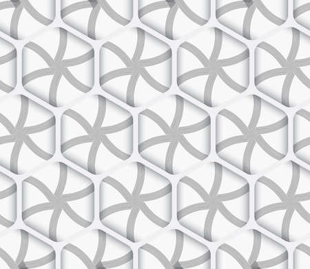 Seamless geometric background. Modern monochrome 3D texture. Pattern with realistic shadow and cut out of paper effect.Geometrical ornament 3d hexagonal net on white background. Ilustração