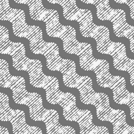 Seamless geometric background. Modern monochrome 3D texture. Pattern with realistic shadow and cut out of paper effect.Geometrical ornament with diagonal dot textured waves.