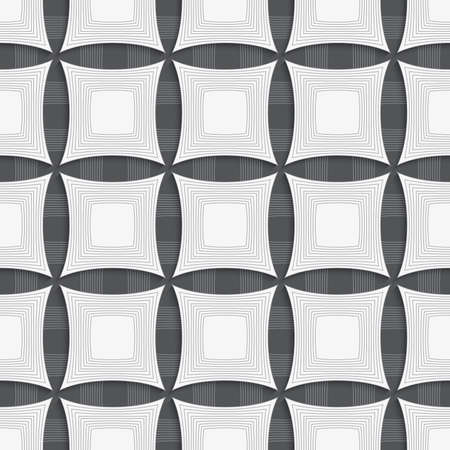 Seamless geometric background. Modern monochrome 3D texture. Pattern with realistic shadow and cut out of paper effect.Geometrical ornament with gray squares.