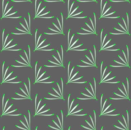tillable: Seamless abstract background of 3d shapes with realistic shadow and cut out of paper effect. Modern 3D texture.Geometrical ornament with green perforated dill leaves.