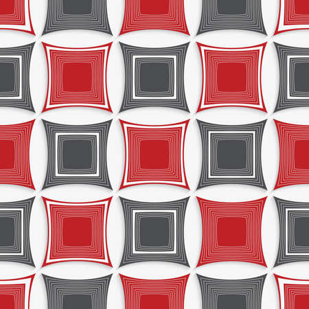 tillable: Seamless abstract background of 3d shapes with realistic shadow and cut out of paper effect. Modern 3D texture.Geometrical ornament with red and gray squares on white.
