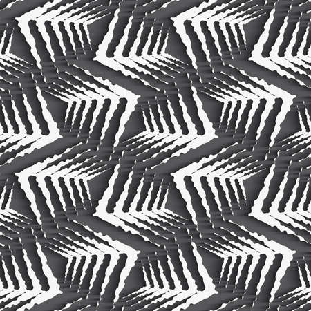 grey pattern: Seamless geometric background. Modern monochrome 3D texture. Pattern with realistic shadow and cut out of paper effect.Geometrical ornament with white rough shapes Illustration