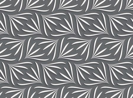 Naadloze geometrische achtergrond. Modern monochrome 3D textuur. Patroon met realistische schaduw en knip papier effect.Ornament met witte geometrische bloemen vormen op grijze achtergrond. Stock Illustratie
