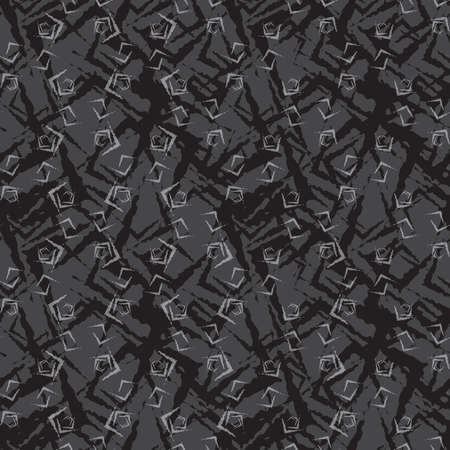 tillable: Seamless stylish geometric background. Modern abstract pattern. Flat monochrome design.Repeating ornament dark small rough shapes.