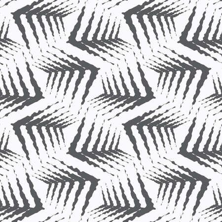 Naadloze stijlvolle geometrische achtergrond. Modern abstract patroon. Plat zwart-wit ontwerp. Ornament grijs ruige vormen herhalen.