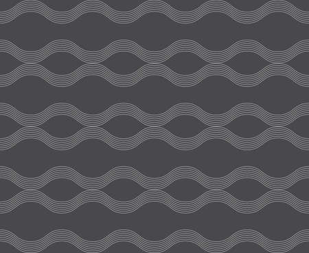 tillable: Seamless stylish geometric background. Modern abstract pattern. Flat monochrome design.Repeating ornament horizontal wavy lines .