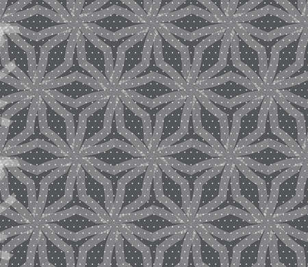 tillable: Seamless stylish geometric background. Modern abstract pattern. Flat monochrome design.Repeating ornament stars with lines on gray textured with dots. Illustration