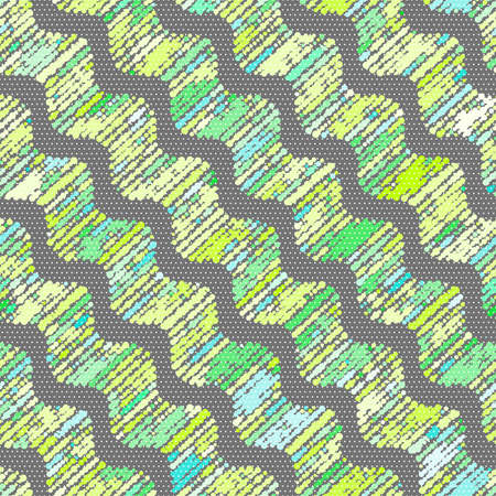 Seamless stylish geometric background. Modern abstract pattern. Flat textured design.Textured ornament with doted waves in green shades.