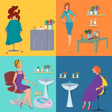 Flat design. Beauty salon spa.Beauty salon spa customers flat people Ilustrace