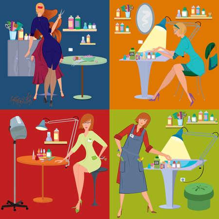 Flat design. Beauty salon spa.Beauty salon spa employees flat people Ilustrace