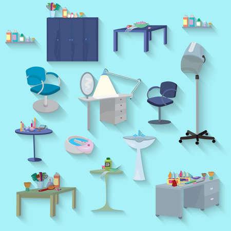 salon and spa: Flat design. Beauty salon spa.Beauty spa furniture set flat design. Illustration