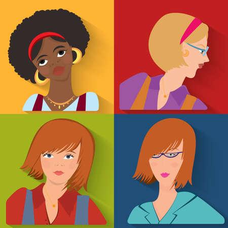 Flat design. Beauty salon spa.Flat people avatar beauty spa employees.