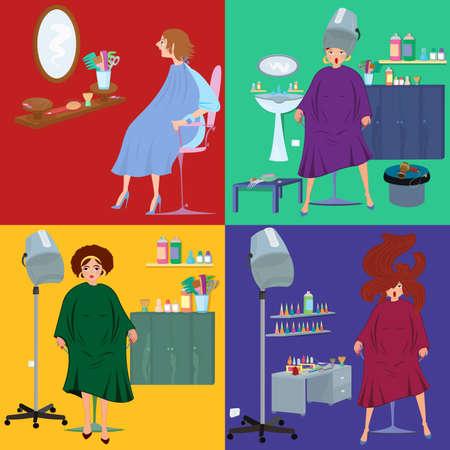 Flat design. Beauty salon spa.Beauty salon spa customers in robes flat people. Ilustrace