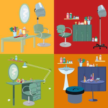 フラットなデザイン。美容室スパ。美容室スパ家具フラットなデザイン。  イラスト・ベクター素材