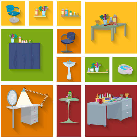 フラットなデザイン。美容室スパ。美容スパ家具アイコン セット、フラットなデザイン。