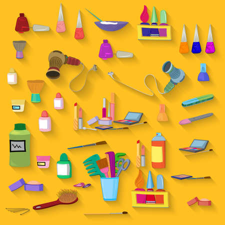 Flat design. Beauty salon spa.Beauty spa objects set flat design.