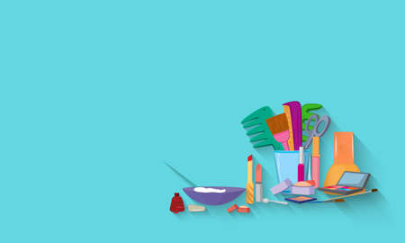 Flat design. Beauty salon spa.Beauty spa salon blue background.