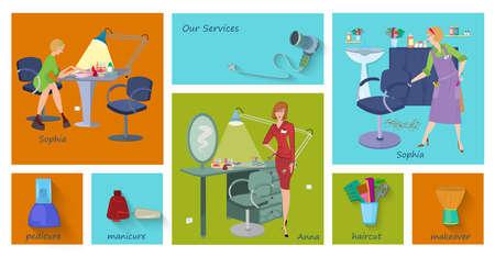 フラットなデザイン。美容室スパ。美容スパ サロン サービス ページ。