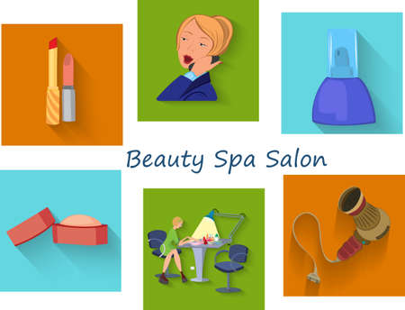 Flat design. Beauty salon spa.Beauty spa salon squares.