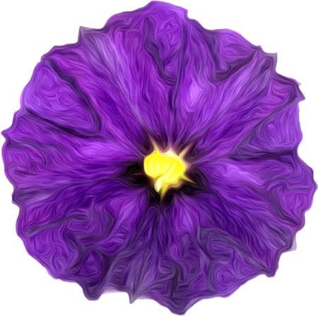 Illustratie van artistieke geschilderde paarse bloem geïsoleerd op wit. Paars aquarel schilderij van paarse bloem.
