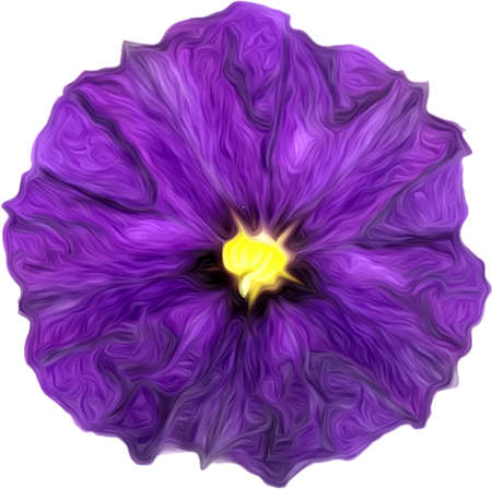 Illustration of artistic painted purple flower isolated on white. Purple watercolor painting of purple flower.