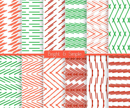 Seamless stylish geometric background set. Simple patterns.Each pattern grouped on separate layer under cover. Easy to edit or recolor.