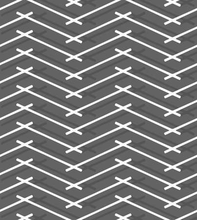 tillable: Seamless stylish geometric background. Modern abstract pattern. Flat monochrome design.Monochrome pattern with gray intersecting lines forming horizontal zigzag. Illustration