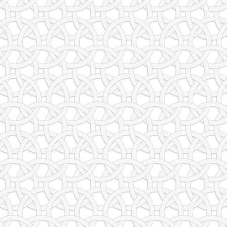 Seamless geometric background. Modern monochrome 3D texture. Pattern with realistic shadow and cut out of paper effect.3D interlocking circles on white.