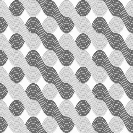 Seamless geometric background. Modern monochrome 3D texture. Pattern with realistic shadow and cut out of paper effect.3D shades of gray interlocking striped waves.
