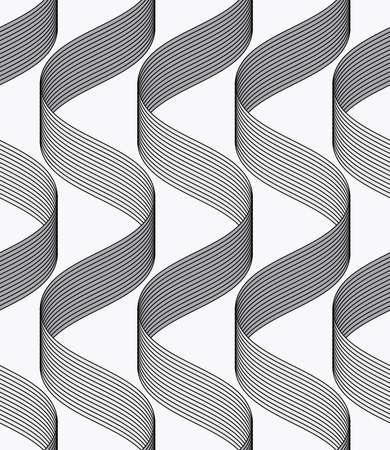 waves pattern: Seamless geometric background. Modern monochrome ribbon like ornament. Pattern with textured ribbons.Ribbons making waves pattern.