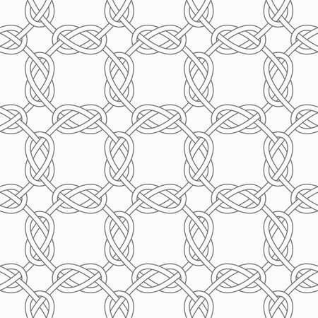 interlocked: Seamless stylish geometric background. Modern abstract pattern. Flat monochrome design.Slim gray square interlocking ornament.