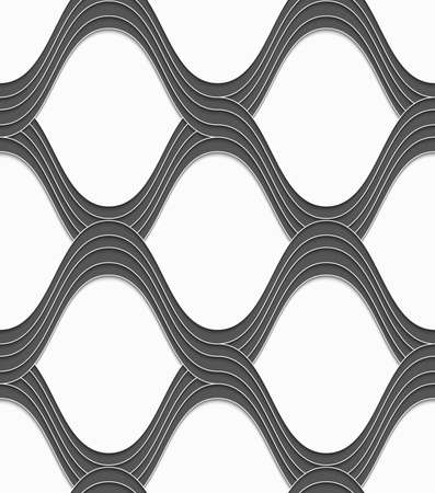 Seamless geometric background. Modern monochrome 3D texture. Pattern with realistic shadow and cut out of paper effect.3D gray overlapping waves on white.