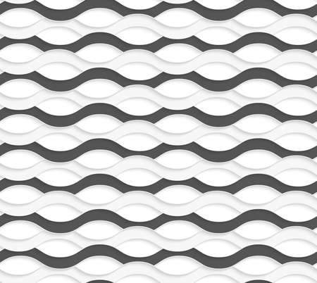 interlock: Seamless geometric background. Modern monochrome 3D texture. Pattern with realistic shadow and cut out of paper effect.3D overlapping black and white waves. Illustration