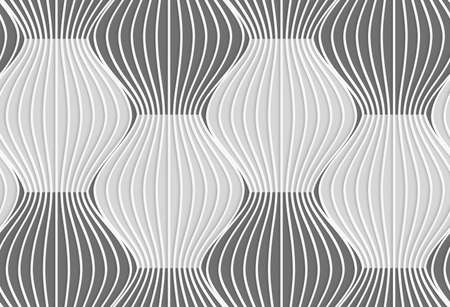 tillable: Seamless geometric background. Modern monochrome 3D texture. Pattern with realistic shadow and cut out of paper effect.3D shades of gray vertical striped waves.
