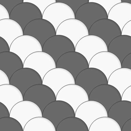 Seamless geometric background. Modern monochrome 3D texture. Pattern with realistic shadow and cut out of paper effect.3D white and gray overlapping half circles.