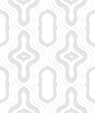 tillable: Seamless geometric background. Modern monochrome 3D texture. Pattern with realistic shadow and cut out of paper effect.3D white ornament with gray layering. Illustration