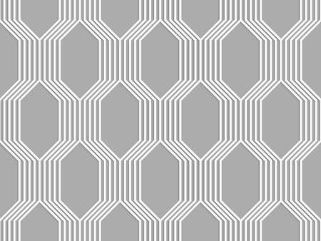 Seamless geometric background. Modern monochrome 3D texture. Pattern with realistic shadow and cut out of paper effect.3D white striped braid o gray.