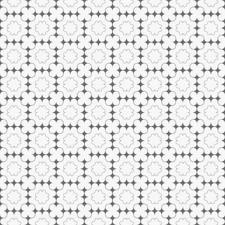 tillable: Seamless stylish geometric background. Modern abstract pattern. Flat monochrome design.Gray ornament with dark gray pointy squares and clover shapes.