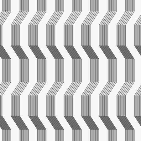 Seamless stylish geometric background. Modern abstract pattern. Flat monochrome design.Gray ornament with warping stripes shaded. Ilustração