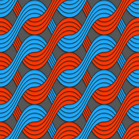 Seamless geometric background. Modern 3D texture. Pattern with realistic shadow and cut out of paper effect.Red and blue embossed interlocking wavy lines.