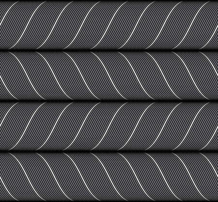 Seamless geometric background. Modern monochrome ribbon like ornament. Pattern with textured ribbons.Ribbons black horizontal chevron pattern.