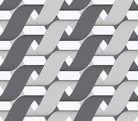 loops: Seamless geometric background. Modern monochrome ribbon like ornament. Pattern with textured ribbons.Ribbons dark and light forming horizontal overlapping loops pattern. Illustration